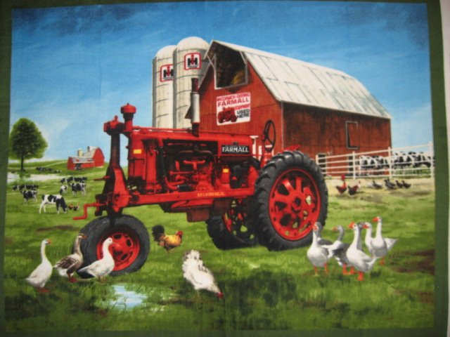 Farmall Tractor Fleece blanket Farm Barn and geese