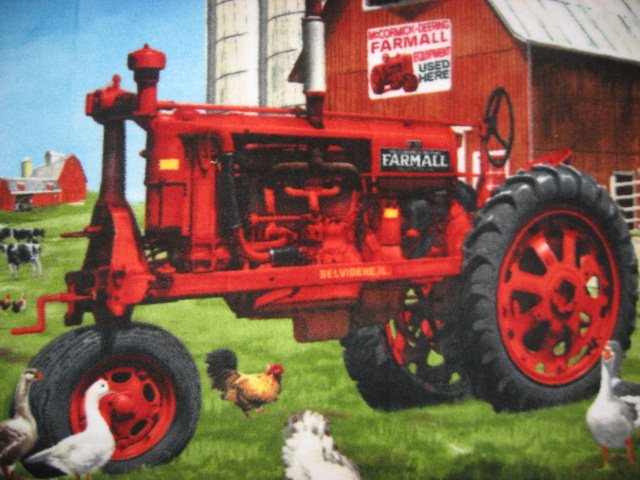 Image 1 of Farmall Tractor Fleece blanket Farm Barn and geese
