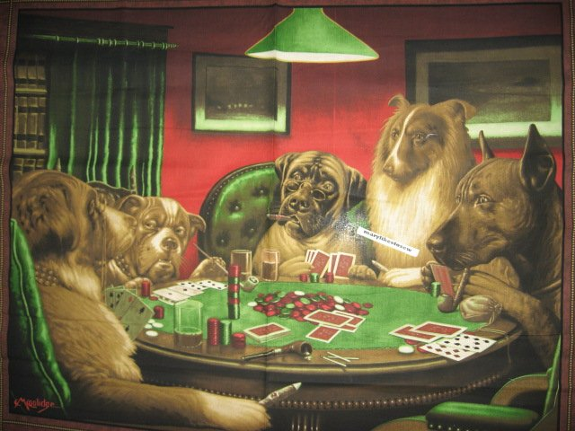 Image 0 of Poker Dog Fabric C.M.Coolidge wall panel to Sew original Rare