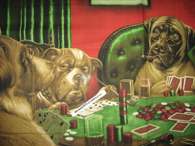 Image 2 of Poker Dog Fabric C.M.Coolidge wall panel to Sew original Rare