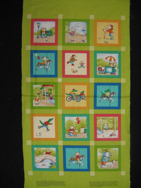 Image 0 of Animals at the park Cotton Fabric Quilt Wall Panel in summer Squares to sew