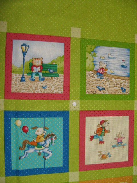Image 1 of Animals at the park Cotton Fabric Quilt Wall Panel in summer Squares to sew