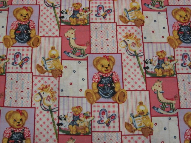 Blue Jean Teddy Bear Girl Blossom Quilt Pink Cotton Fabric by the yard