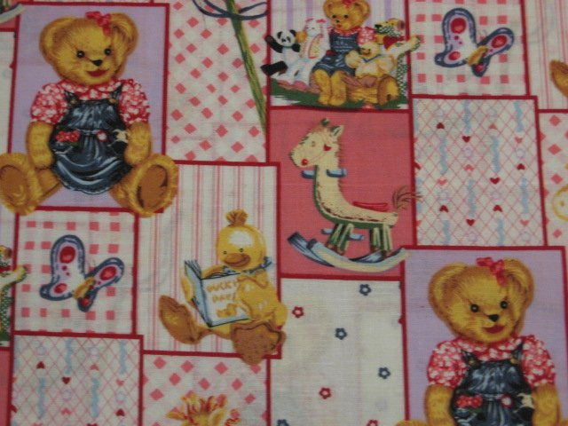 Image 1 of Blue Jean Teddy Bear Girl Blossom Quilt Pink Cotton Fabric by the yard