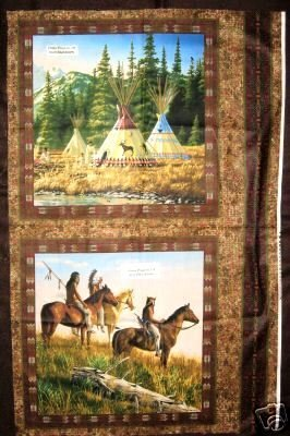 Image 0 of Indian on horses and teepees Fabric pillow panels set of two pictures