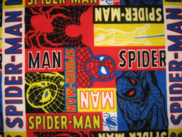 Image 0 of Spiderman antipill fleece blanket throw in block form with finished edges