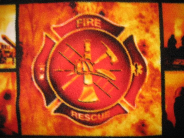 Image 1 of Firemen hose and equipment antipill block form child bed size fleece blanket/
