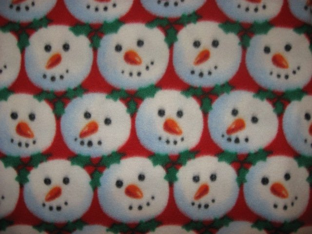 Image 0 of Snowball snowman faces anti pill fleece blanket