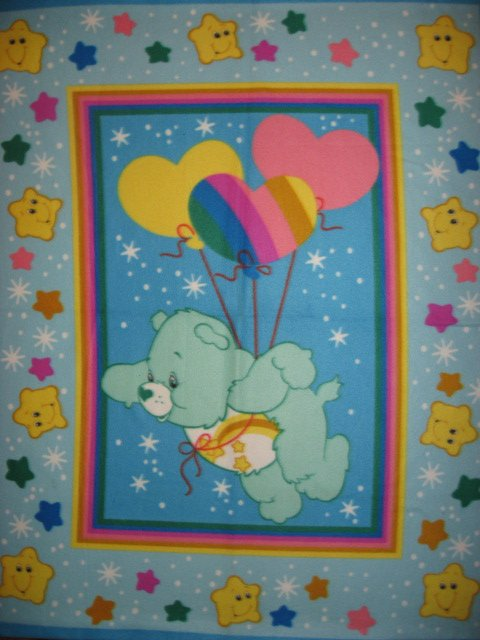 Care Bears with heart shaped balloons antipill child bed size fleece blanket
