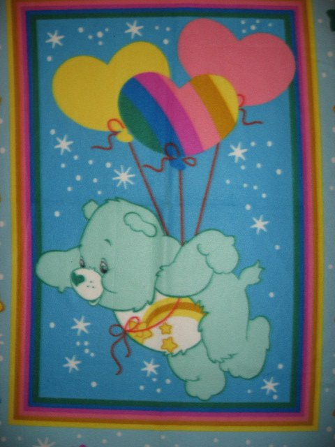 Image 1 of Care Bears with heart shaped balloons super soft child bed size fleece blanket