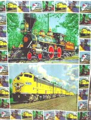 Image 0 of Train fleece blanket with old and new trains out of print