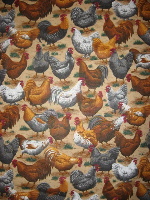 Image 1 of Chickens roosters Fabric By The Yard  farm animals sewing 100% cotton