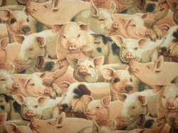 Thumbnail of Pigs and piglets farm animals sewing cotton Fabric By The Yard Patty Reed 2007