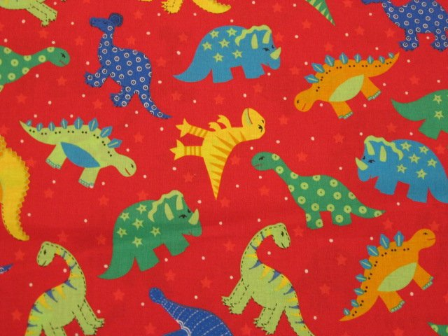 Dinosaurs for children red sewing cotton fabric by the yard for Kids fabric by the yard