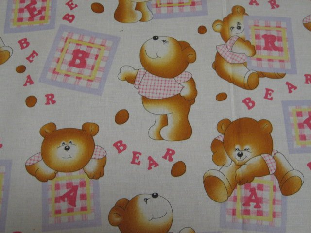 Image 0 of Teddy Bears and letters sewing cotton Fabric By The Yard