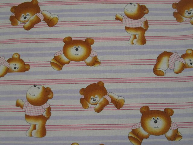 Image 0 of Teddy Bears and stripes sewing cotton Fabric By The Yard