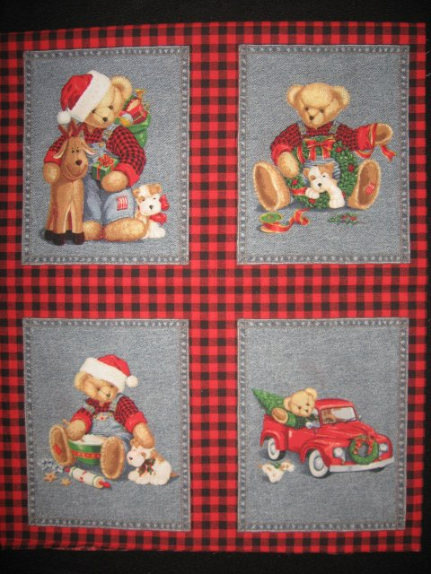 Image 0 of Blue Jean Teddy Bear Christmas 4 cotton Fabric Pillow panels RARE to sew SET #1