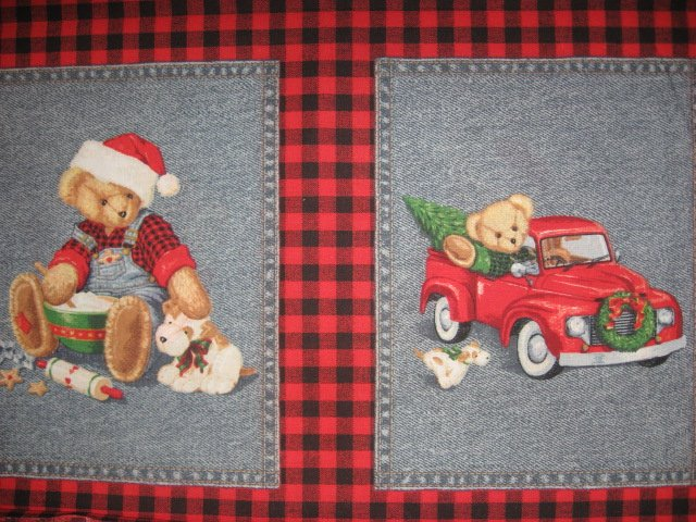 Image 1 of Blue Jean Teddy Bear Christmas 4 cotton Fabric Pillow panels RARE to sew SET #1