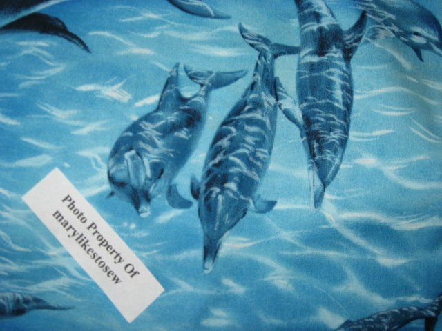 Image 2 of Michael Miller Dolphin dolphins ocean 100% cotton fabric by the yard /