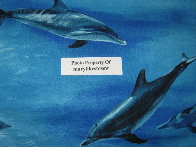 Image 3 of Michael Miller Dolphin dolphins ocean 100% cotton fabric by the yard /