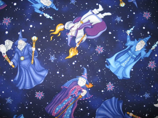 Image 0 of Wizard Sorcerer Owl 100% Cotton fabric looks like Hedwig in Harry Potter Movie