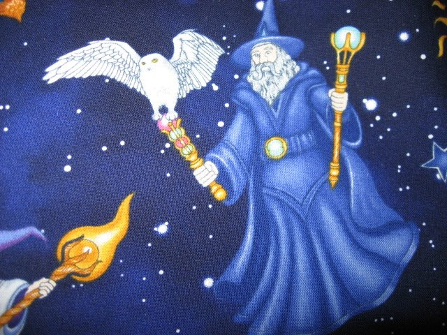 Image 1 of Wizard Sorcerer Owl 100% Cotton fabric looks like Hedwig in Harry Potter Movie