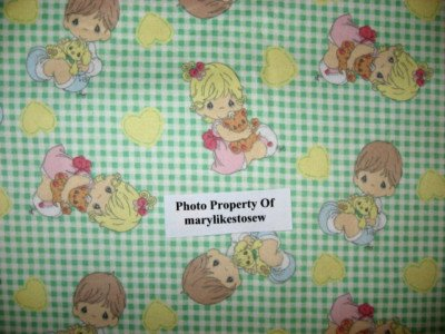 Precious Moments flannel By the yard Green checked Boy Girl Rare/