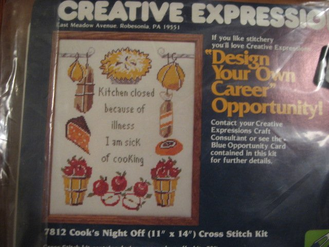Image 0 of Cook's Night Off Cross stitch Kit 11