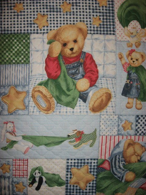 Daisy Kingdom Blue Jean Teddy finished crib quilt fabric panel and headboard pad