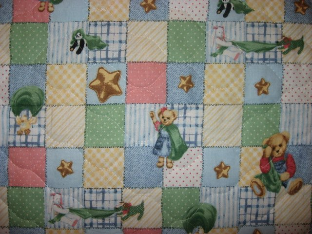 Image 2 of Daisy Kingdom Blue Jean Teddy finished crib quilt fabric panel and headboard pad