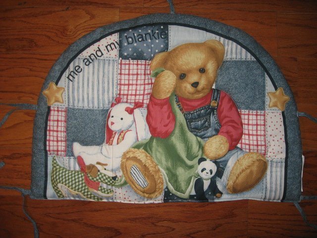 Image 1 of Daisy Kingdom Blue Jean Teddy finished crib quilt fabric panel and headboard pad