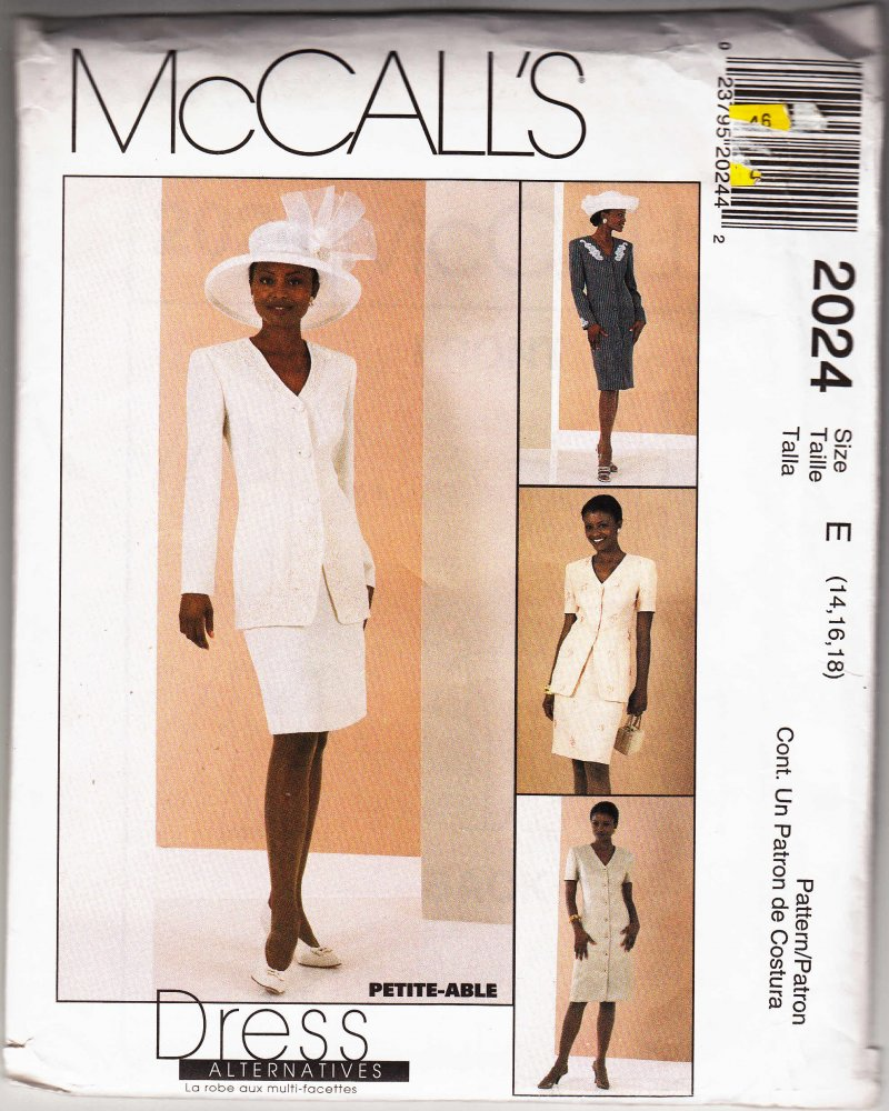 McCall's woman's sewing pattern 2024 Coatdress jacket skirt 14, 16, 18