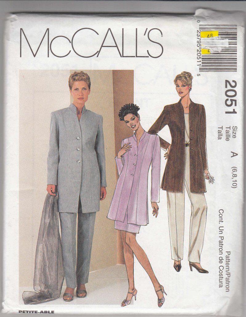 McCall's woman's pattern 2051 Misses Lined jacket skirt pants SZ 6, 8, 10