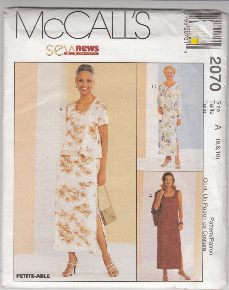 McCall's woman's sewing pattern 2070 Lined dress jacket Size 6, 8, 10