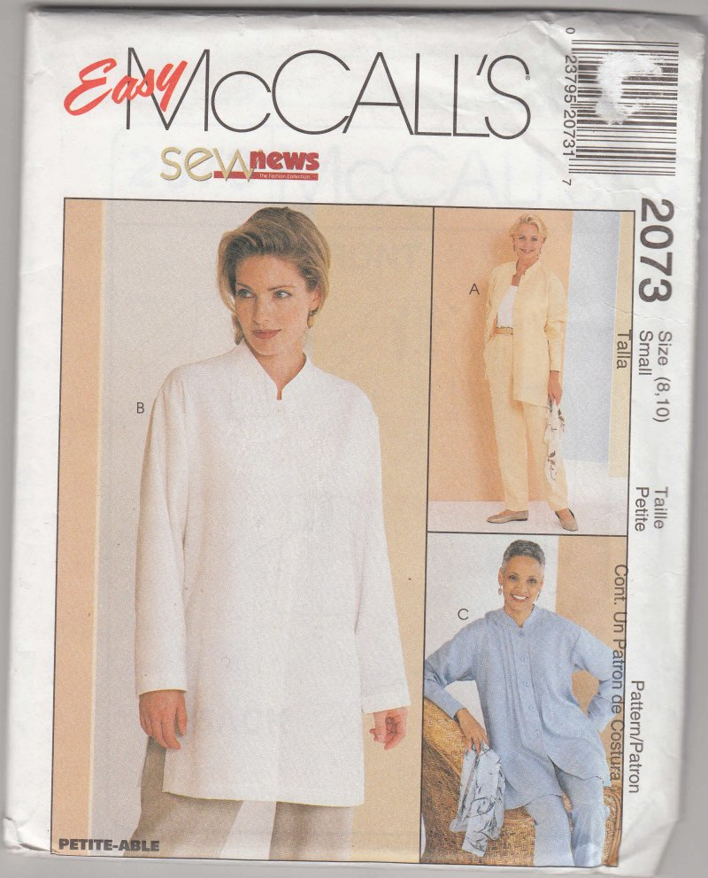 McCall's 2073 pattern shirt and pull on pants size 8, 10