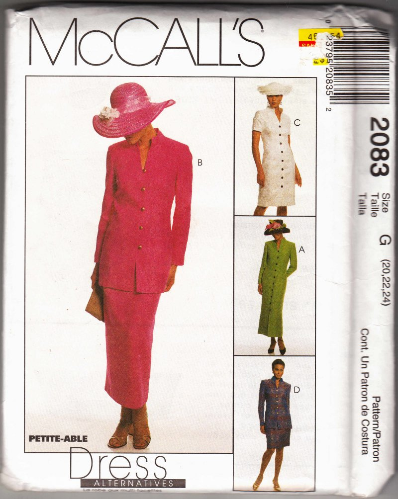 McCall's woman's sewing pattern 2083 Coatdress jacket skirt Size 10,12,14