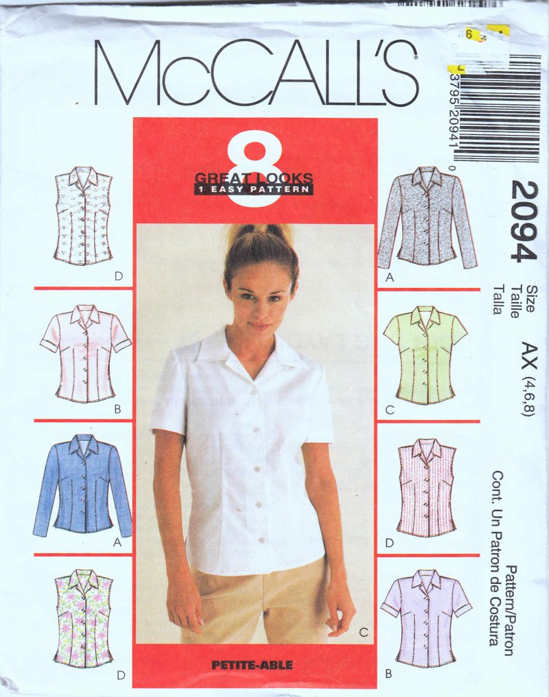 McCall's woman's sewing pattern 2094 Misses tops Size AX 4,6,8