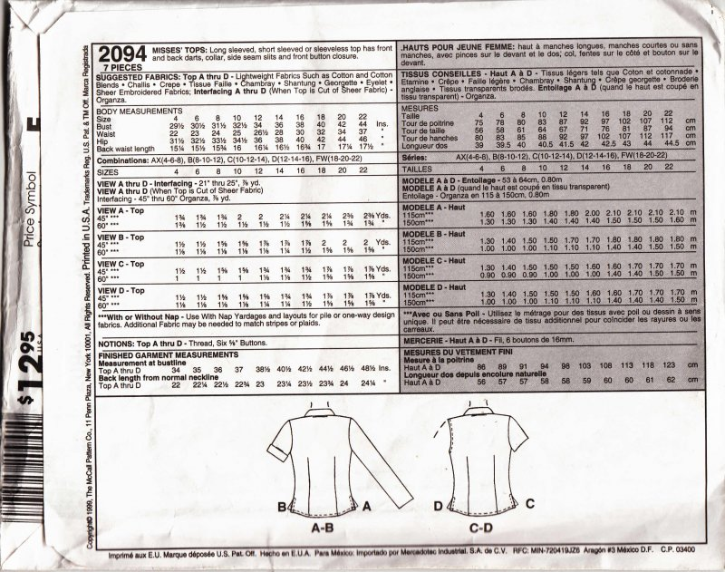 Image 1 of McCall's woman's sewing pattern 2094 Misses tops Size AX 4,6,8