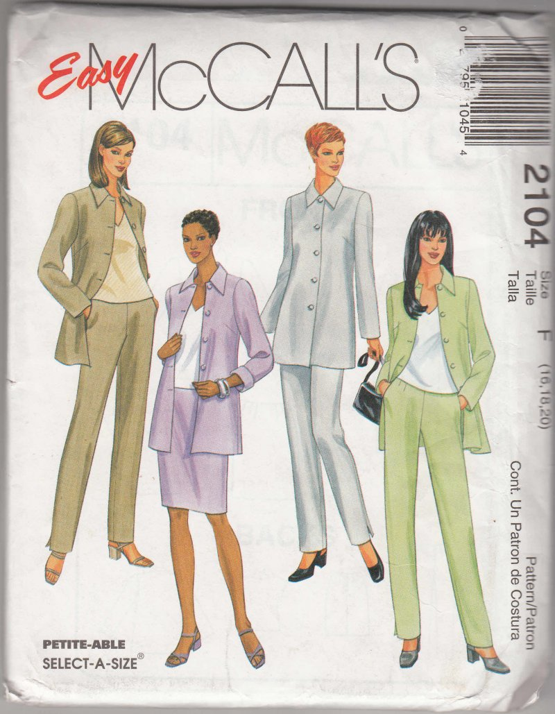 McCall's woman's sewing pattern 2104 Top pants skirt 16,18,20