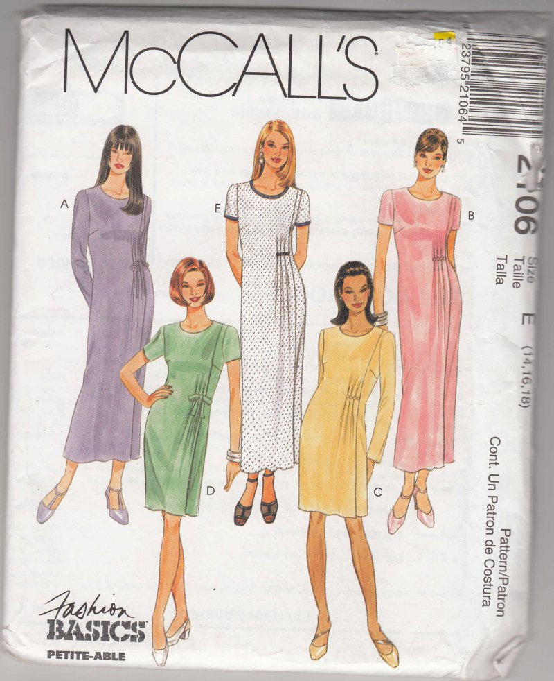 McCall's woman's sewing pattern 2106 Misses dress 14,16,18