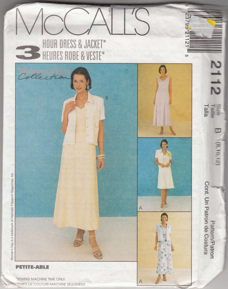 McCall's woman's sewing pattern 2112 Misses dress and jacket 8,10,12