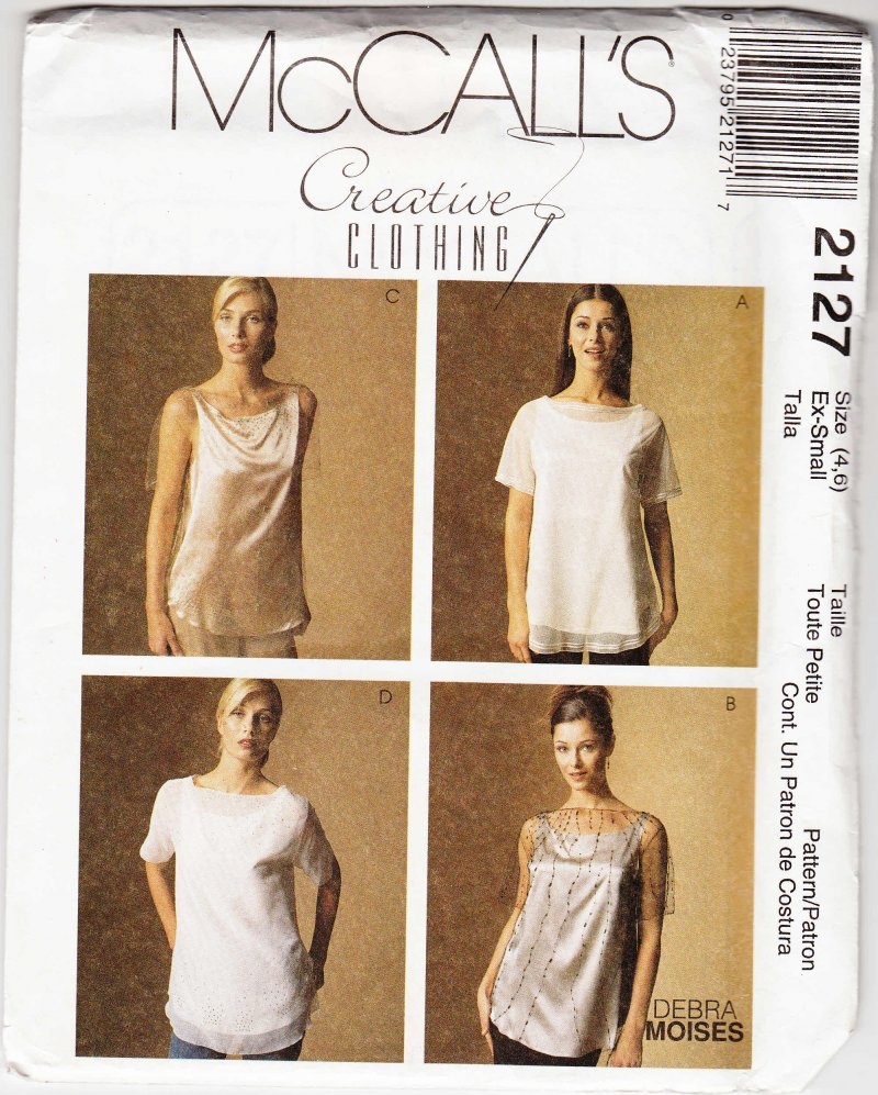 McCall's Lovely woman's sewing pattern 2127 Misses top and camisole XS 4 and 6