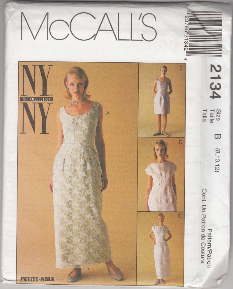 McCall's woman's sewing pattern 2134 Misses dress AX 4,6,8