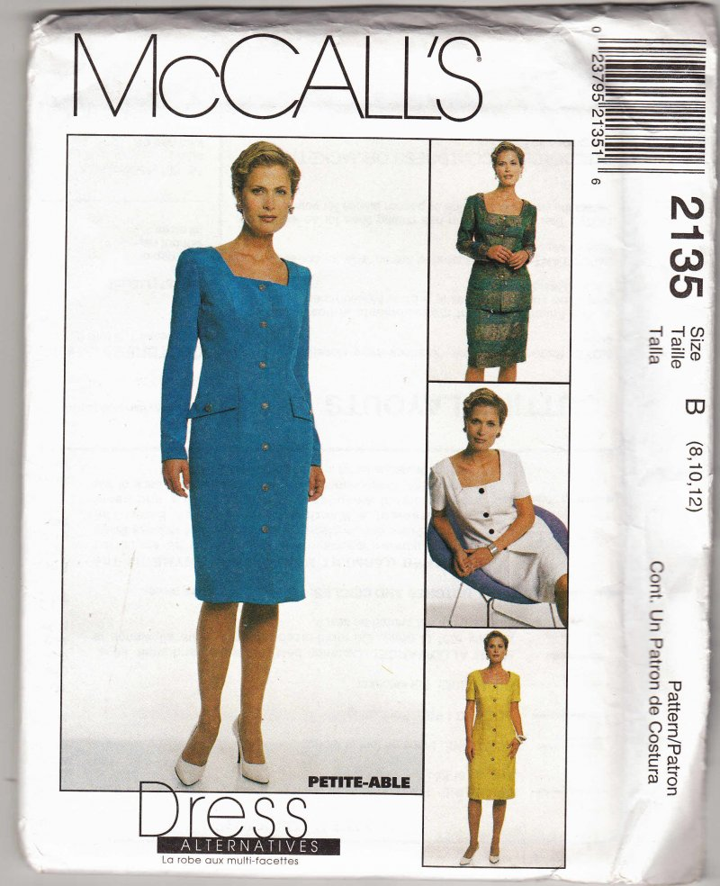 McCall's woman's sewing pattern 2135 Coatdress jacket skirt 8,10,12