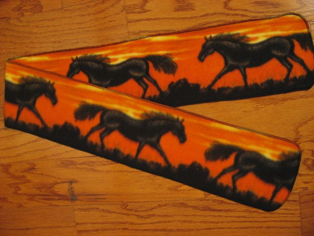 Horses running orange fleece scarf