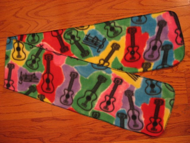 Guitars multicolored child fleece scarf