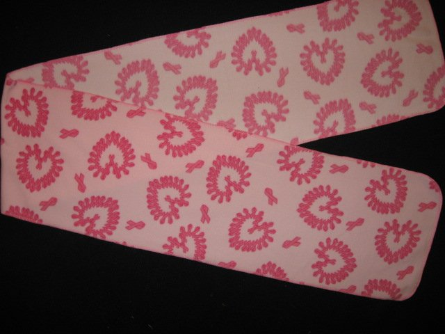 Image 0 of Cancer ribbon hearts Pink fleece scarf