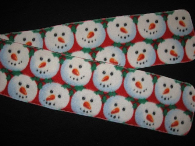 Snowballs with Snowman faces child  fleece scarf