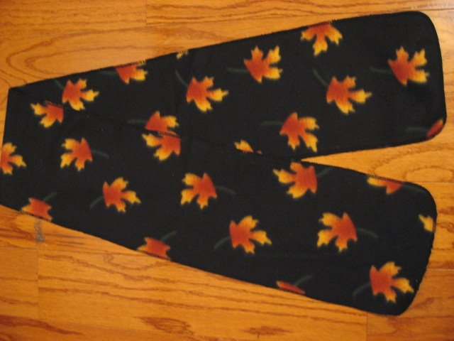 Autumn Fall Leafs Handmade Black fleece table runner or scarf