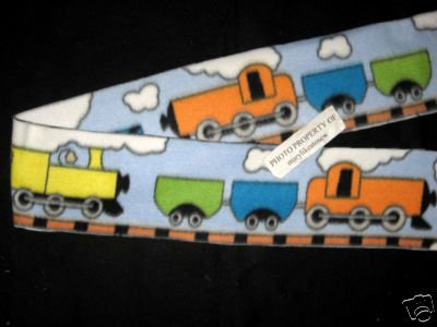 Train orange locomotive and cars child size blue fleece scarf